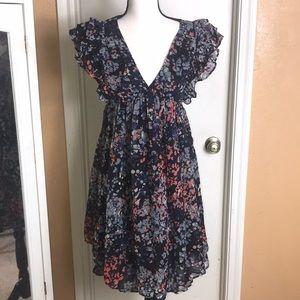 H&M Abstract Ruffle Babydoll Dress Sz 4